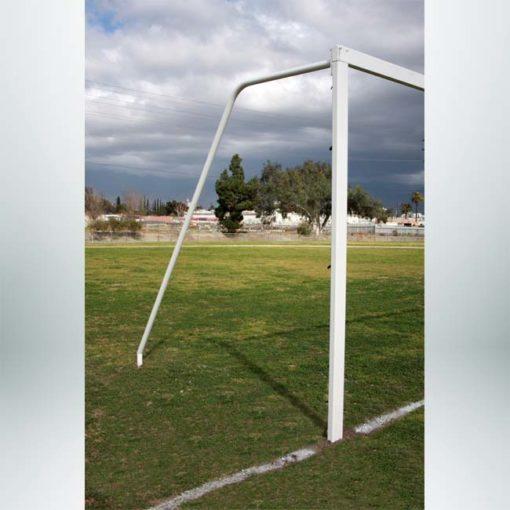 Model #P824AC. Semi-permanent 8' x 24' regulation soccer goal American style. No net.