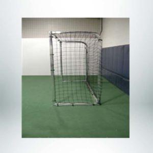 Model #SGEFUTSAL. Aluminum futsal goal with push button assembly side view.
