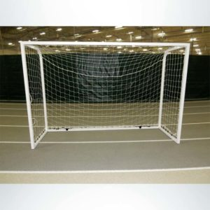 Model #SGEFUTSAL. Futsal goal powder coated white with cable net attachment.