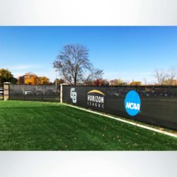 Custom windscreen UW Green Bay soccer stadium fence