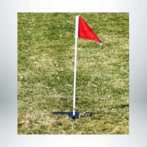 Model # AMSF4. Turf corner flag with steel base.