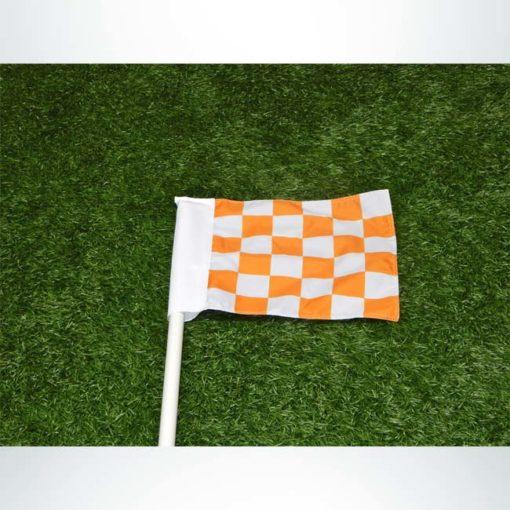 Custom orange-white checkered corner flag.