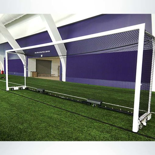 Custom box-style wheeled soccer goal with 54 inch back-depth.