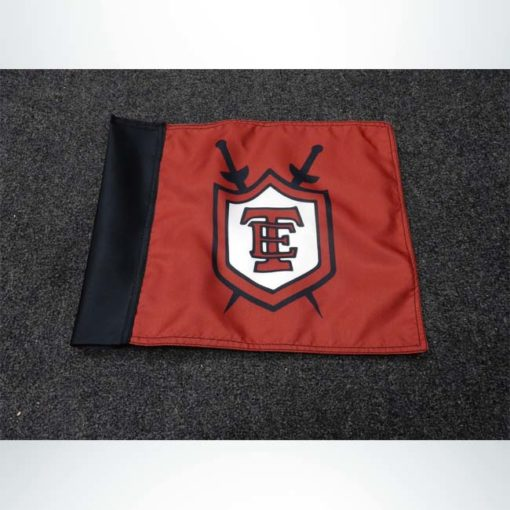 Corner flag with custom logo.
