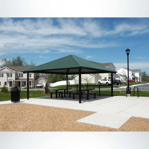 Model #RCPASSQ20-06. 20'x20' all steel square hip park shelter.
