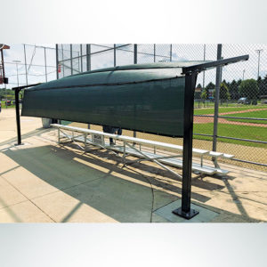 Model #BLD. Bleacher Defender to Provide Shade and Protection from Baseballs and Softballs. Rear View.