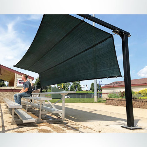 Model #BLD. Bleacher Defender to Provide Shade and Protection from Baseballs and Softballs.