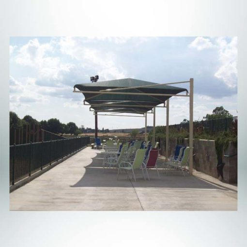 Model #RCPFSCH1248-12. 12'x48' Fabric cantilever hip shade for parks, stands and chairs.