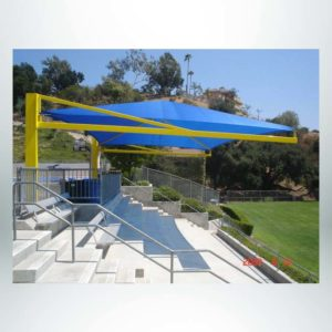 Model #RCPFSCH2030-08. 20'x30' Fabric Cantilever Hip Shade for Bleachers.