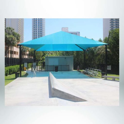 "Model #RCPFSH3846-13. 37'-6""x46' Fabric Hip Shade with Optional Quick Release Corners."
