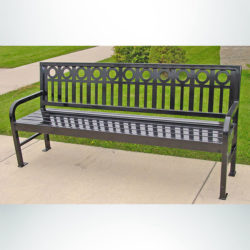 Model #PRASPEN74. Metal Outdoor Bench in Gray for City Streets and Parks