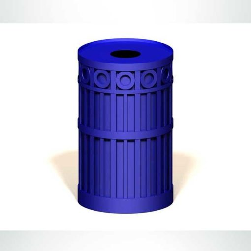 Model #PRASPENT32. Round metal trash receptacle in blue.