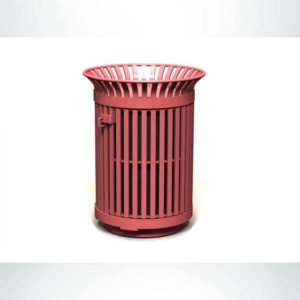 Model #PRAVE24. Round metal outdoor trash receptacle in red.