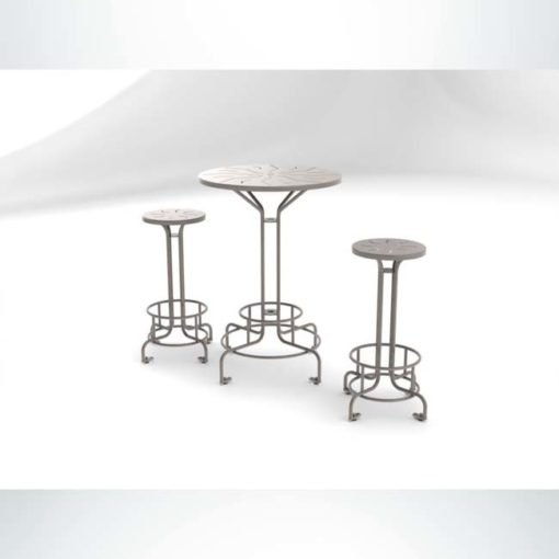 Model #PRBISTRO. Metal bistro table perfect for outdoor seating at restaurants and bars.