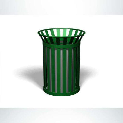 Model #PRBROADWAY. Outdoor round trash receptacle in evergreen.
