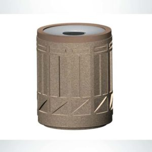 Model #PRTCR-COL. Concrete round trash receptacle.