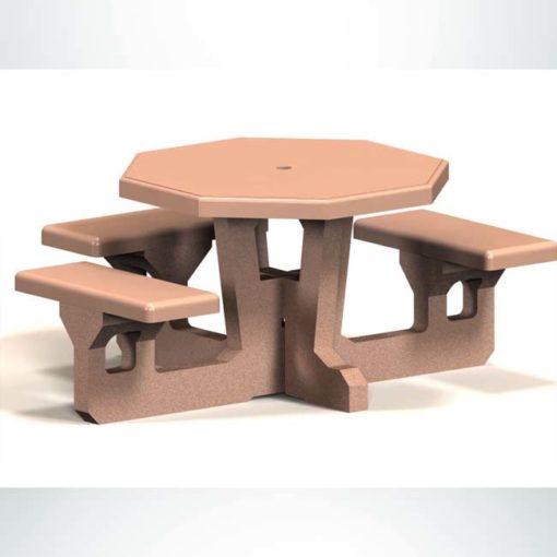 Model #PROTSH. Concrete octagon handicap accessible table for parks and businesses.