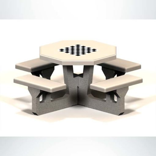 Model #PROTSGAME. Concrete octagon table for parks and businesses.