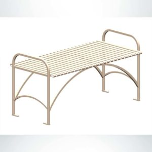 Model #PREFB48. Flat metal outdoor park bench in rapid tan.