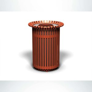 Model #PRERSTA32. Outdoor round trash receptacle in copper finish.