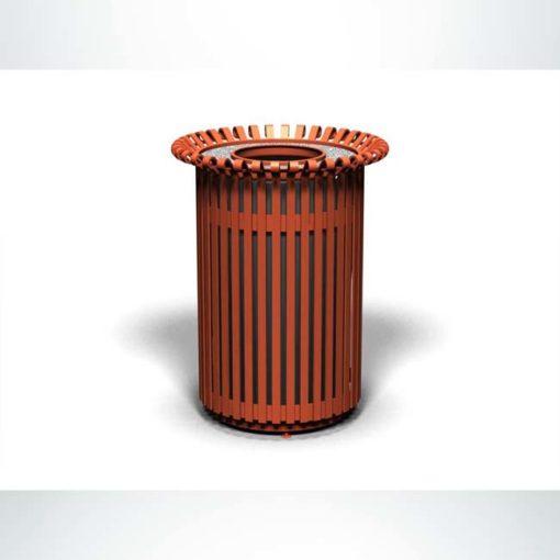 Model #PRERSTA32. Outdoor round trash receptacle in copper finish.