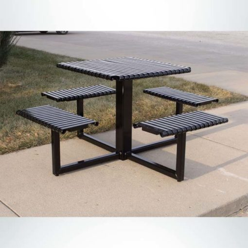 Model #PREST. Square Metal 4 Seat Table in Black for Parks and Businesses.