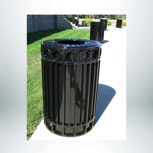 Model #PRISUT40. Round outdoor trash receptacle in black.