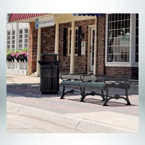 Model #PRFBF72. Flat outdoor bench for city streets and parks.