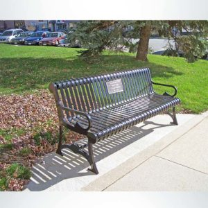 Model #PRLB. Metal Outside Memorial Park Bench in Black with Custom Plaque.