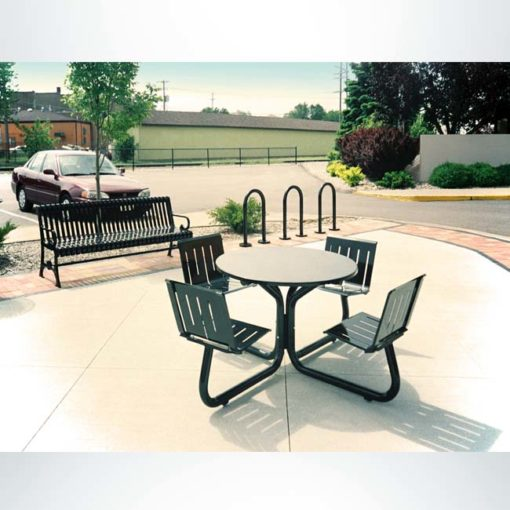 Model #PRLTRND. Round metal 4 seat picnic table for parks and businesses.