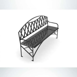 Model #PRNVBB72. Outdoor metal bench in black for parks and city streets.