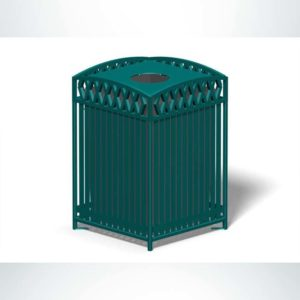 Model #PRNVT32. Square outdoor waste receptacle in green.
