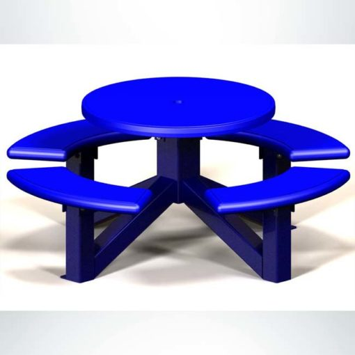 Model #PRRSOTS. Round plastic picnic table in blue for parks and businesses.