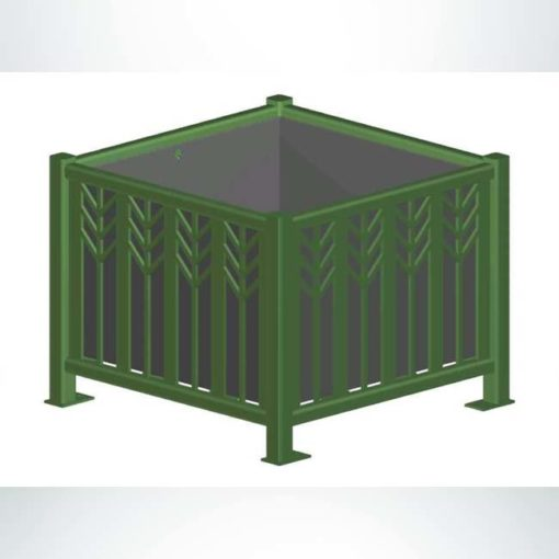 Model #PRSPCP31. Square steel planter in evergreen.