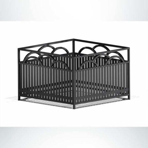 Model #PRSFP36. Square steel planter in black.