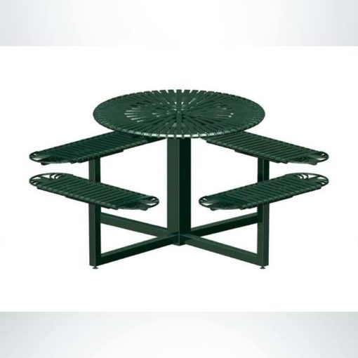 Model #PRSUNDRND. Round metal outdoor table for parks and businesses in evergreen.
