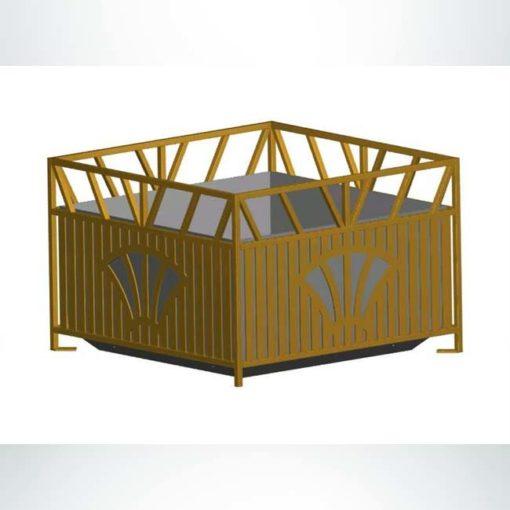 Model #PRSUNP24. Square steel planter in brown.