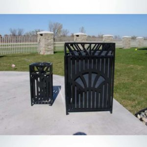 Model #PRSUNWR. Square outdoor trash receptacle in black.