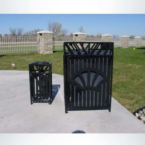 Model #PRSUNWR. Square outdoor trash receptacle in black.
