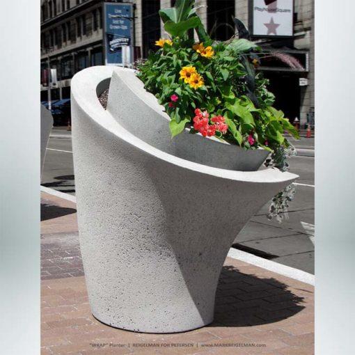 Model #PR-WRAP. Concrete Wrap Planter Dove Gray.