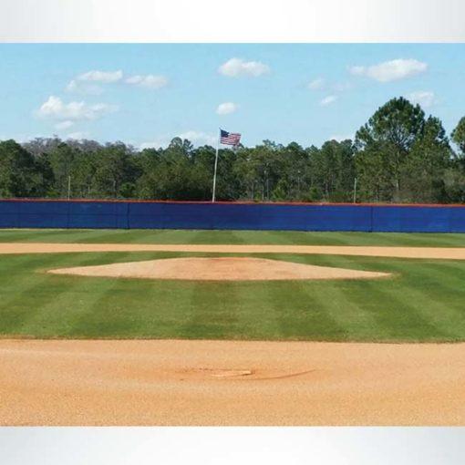 Quickfit royal blue windscreen for softball diamond.
