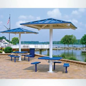 Model #RCPASSQ81P-04. 8'x8' all steel one post square hip shelter with connecting table and benches.