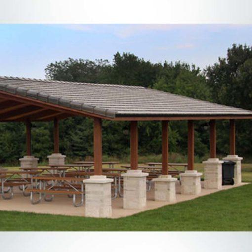 Model #RCPLWG3044-03. 30'x44' laminate wood gable park shelter with masonry column wraps.