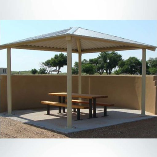 Model #RCPASSQ14-04. 14'x14' all steel square hip park shelter.