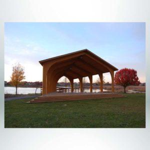 Model #RCPLWAG2544-04. 25'x40' laminated wood arch gable park shelter.