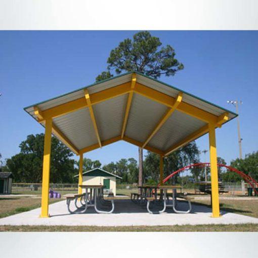 Model #RCPASG2030-04. 20'x30' all steel gable park shelter.