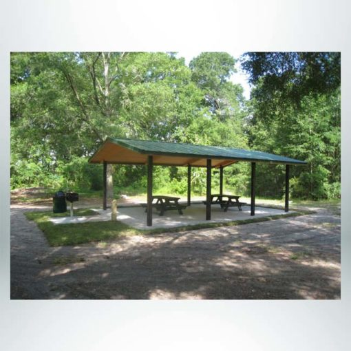 Model #RCPLWG2028-03. 20'x28' laminated wood gable park shelter with optional steel columns and metal roofing.