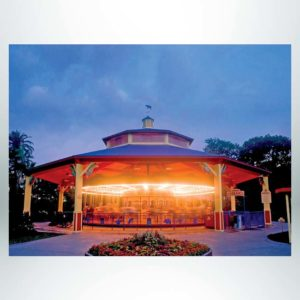 Model #RCPLWOCT842T-04-C. 84' diameter laminated wood two-tier octagonal carousel cover shelter with cupola.