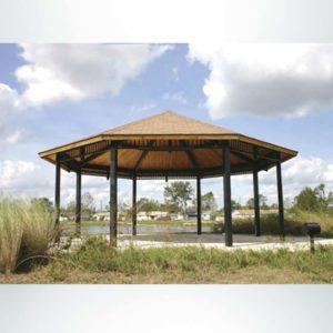 Model #RCPLWOCT29-09. 29' radius laminated wood octagonal park shelter with optional ornamentation.