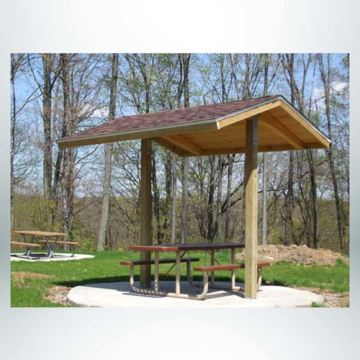 Model #RCPLWG102P-04. 10'x10' laminated wood two post gable park shelter with optional shingle roofing.